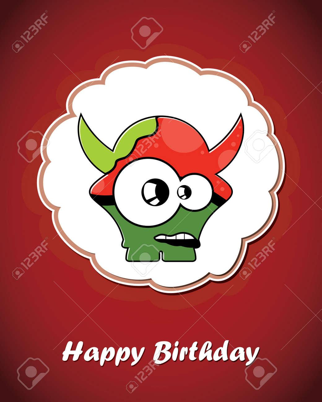 Happy birthday card with cute cartoon monster Stock Vector - 17577643