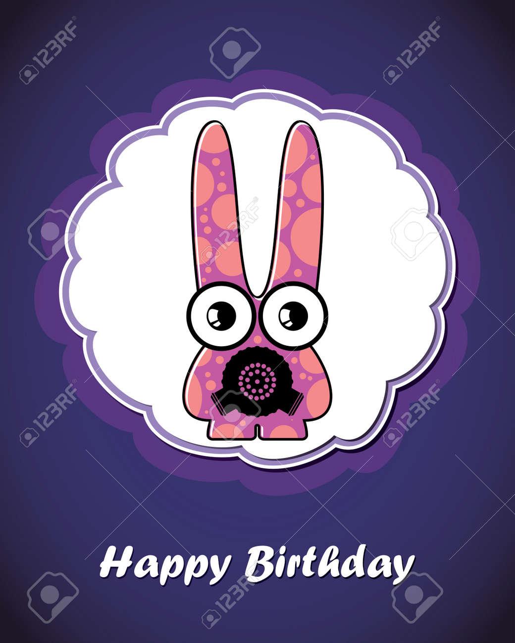Happy birthday card with cute cartoon monster Stock Vector - 17577650
