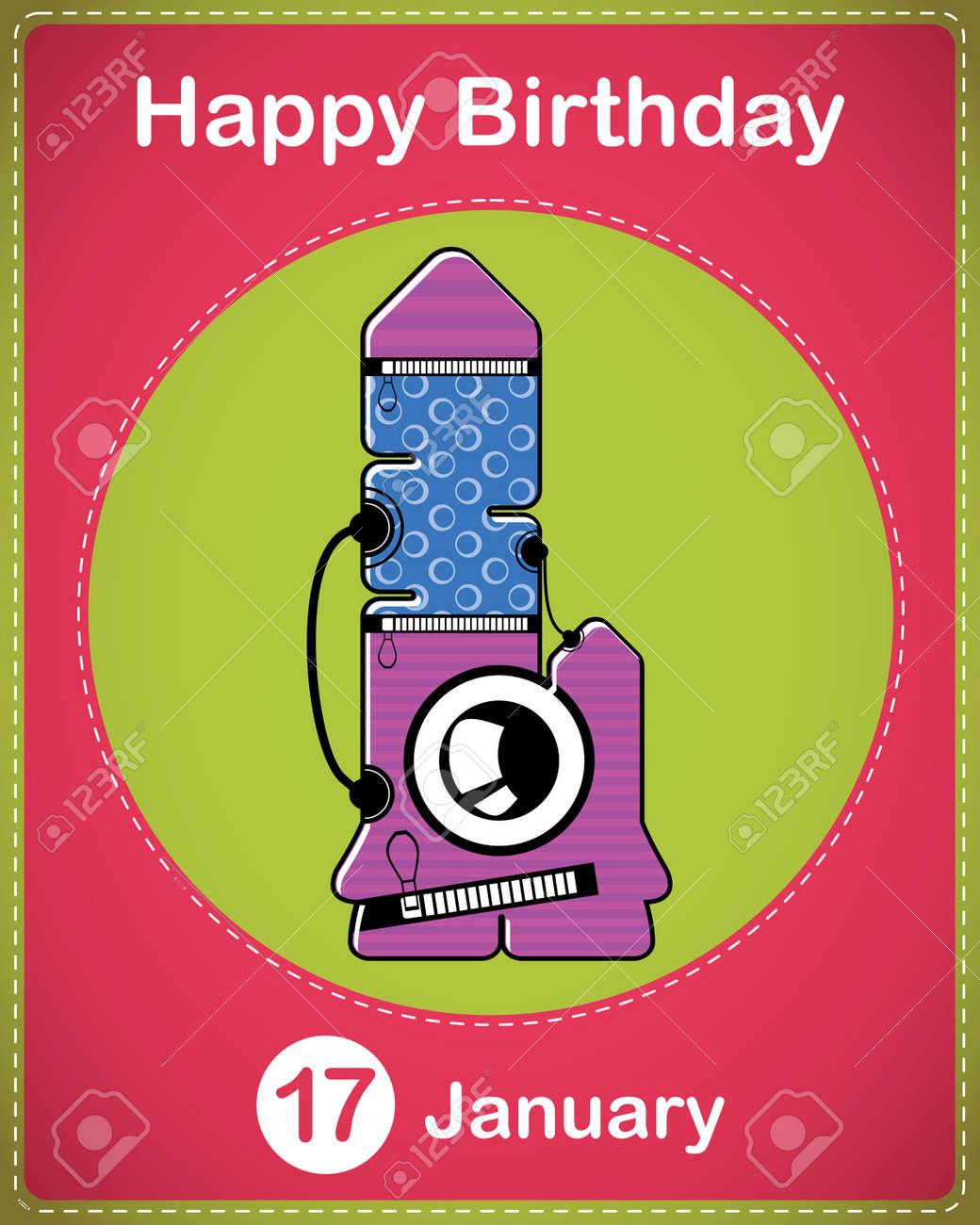 Happy birthday card with cute cartoon monster Stock Vector - 17577839