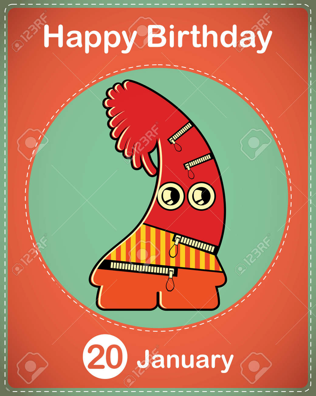 Happy birthday card with cute cartoon monster Stock Vector - 17577909
