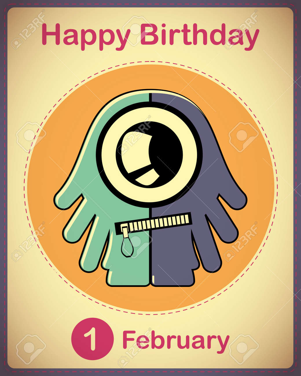 Happy birthday card with cute cartoon monster Stock Vector - 17577933