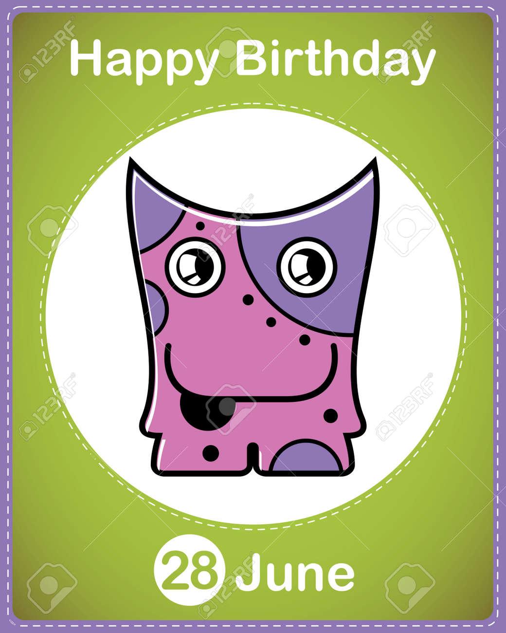 Happy birthday card with cute cartoon monster Stock Vector - 17856963