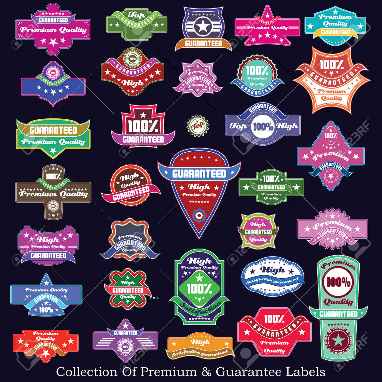 Premium quality and guarantee label collection Stock Vector - 17857370