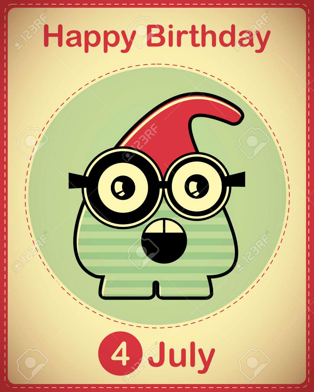 Happy birthday card with cute cartoon monster Stock Vector - 17978441