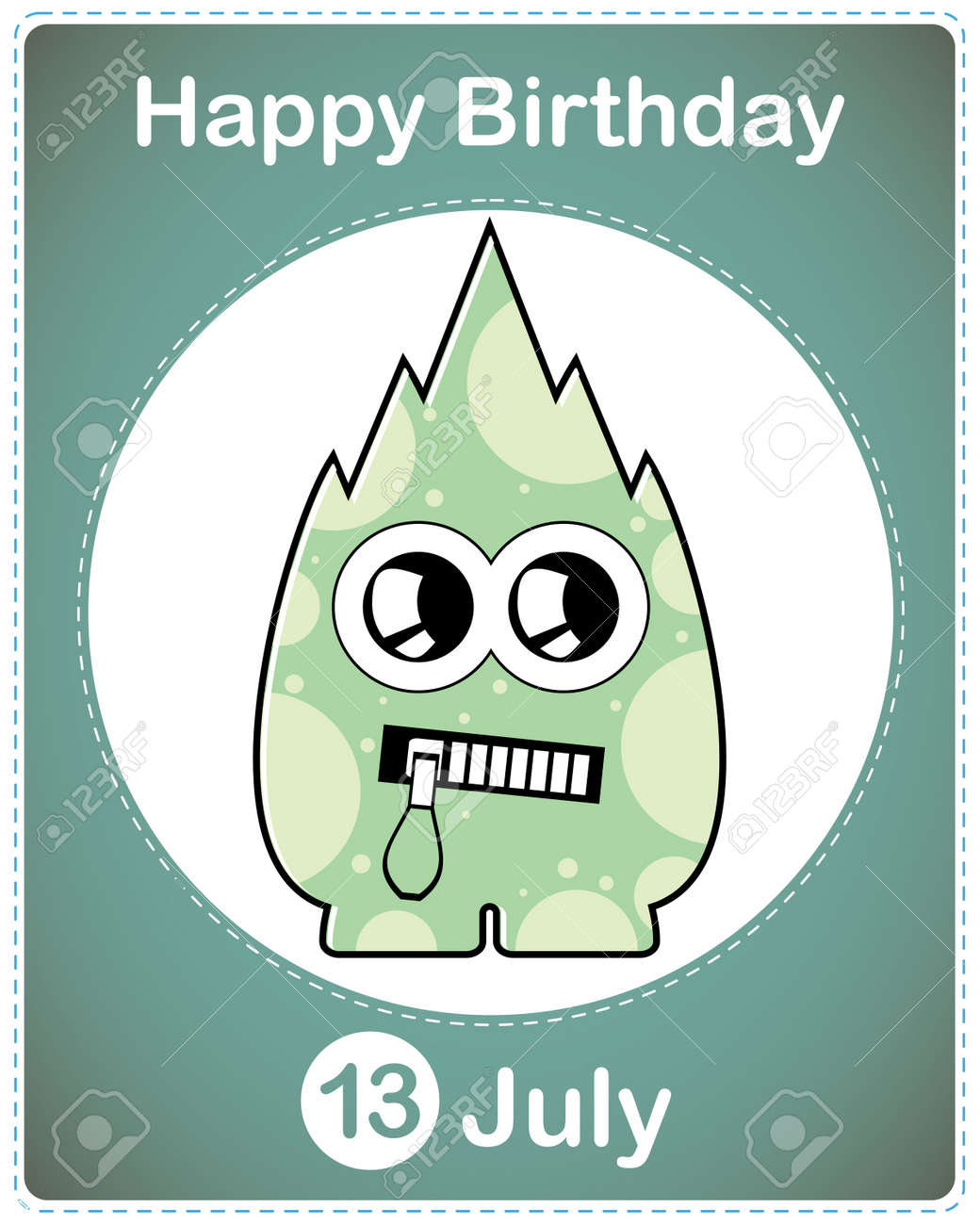 Happy birthday card with cute cartoon monster Stock Vector - 17978053