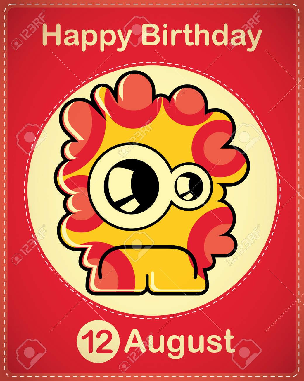 Happy birthday card with cute cartoon monster Stock Vector - 17978401