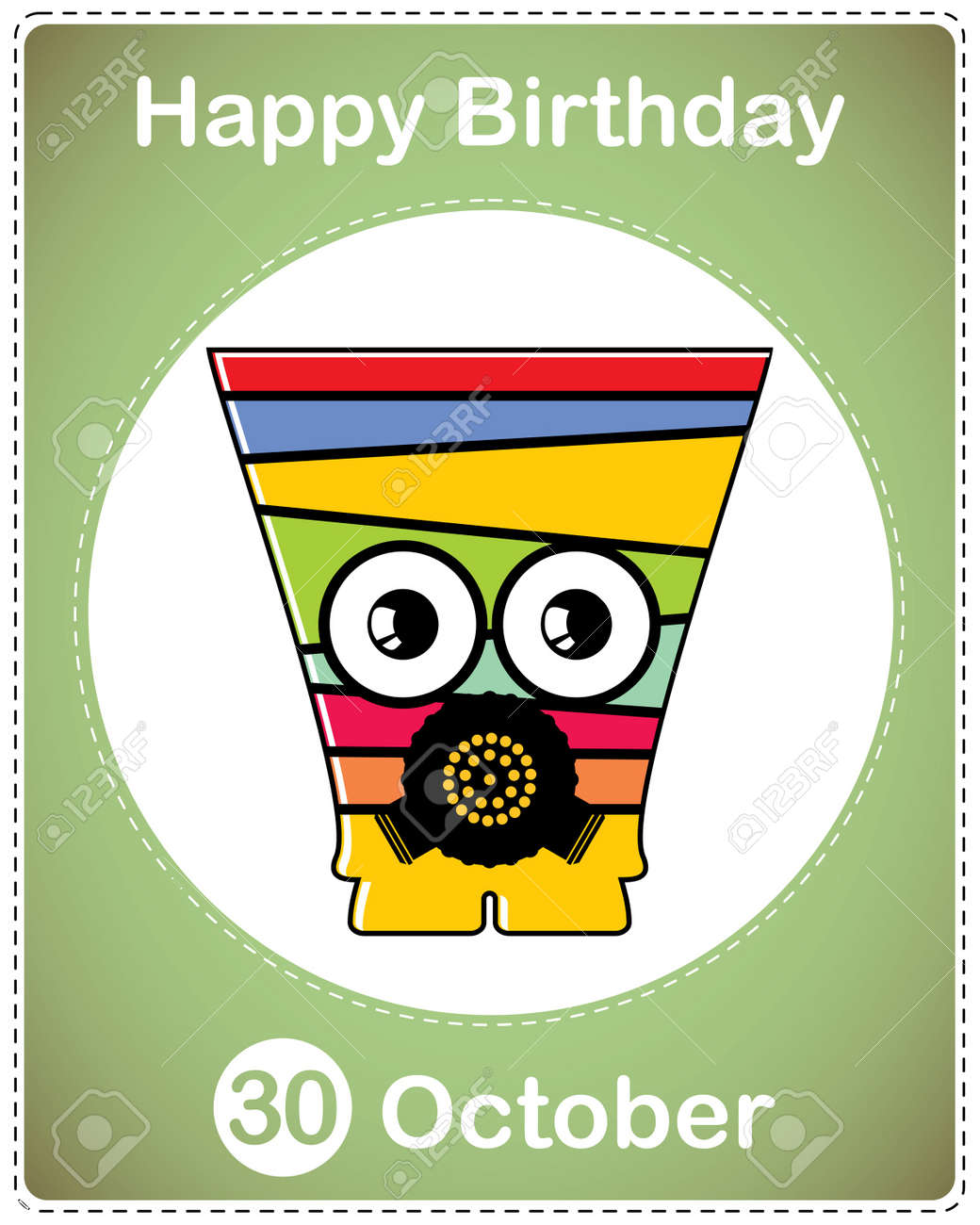 Happy birthday card with cute cartoon monster Stock Vector - 17978202