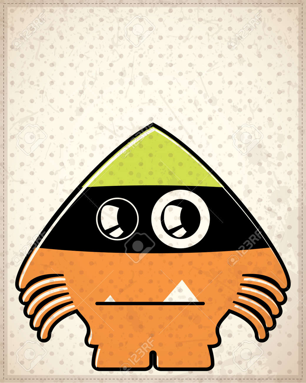 Monster on old paper Stock Vector - 19649129