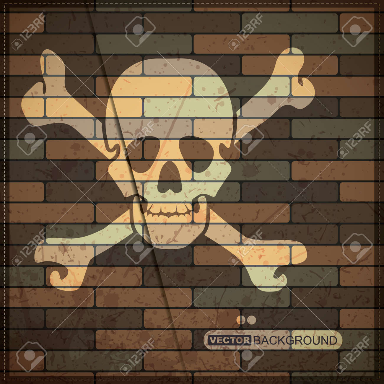 Background with skull on brick wall Stock Vector - 19826573