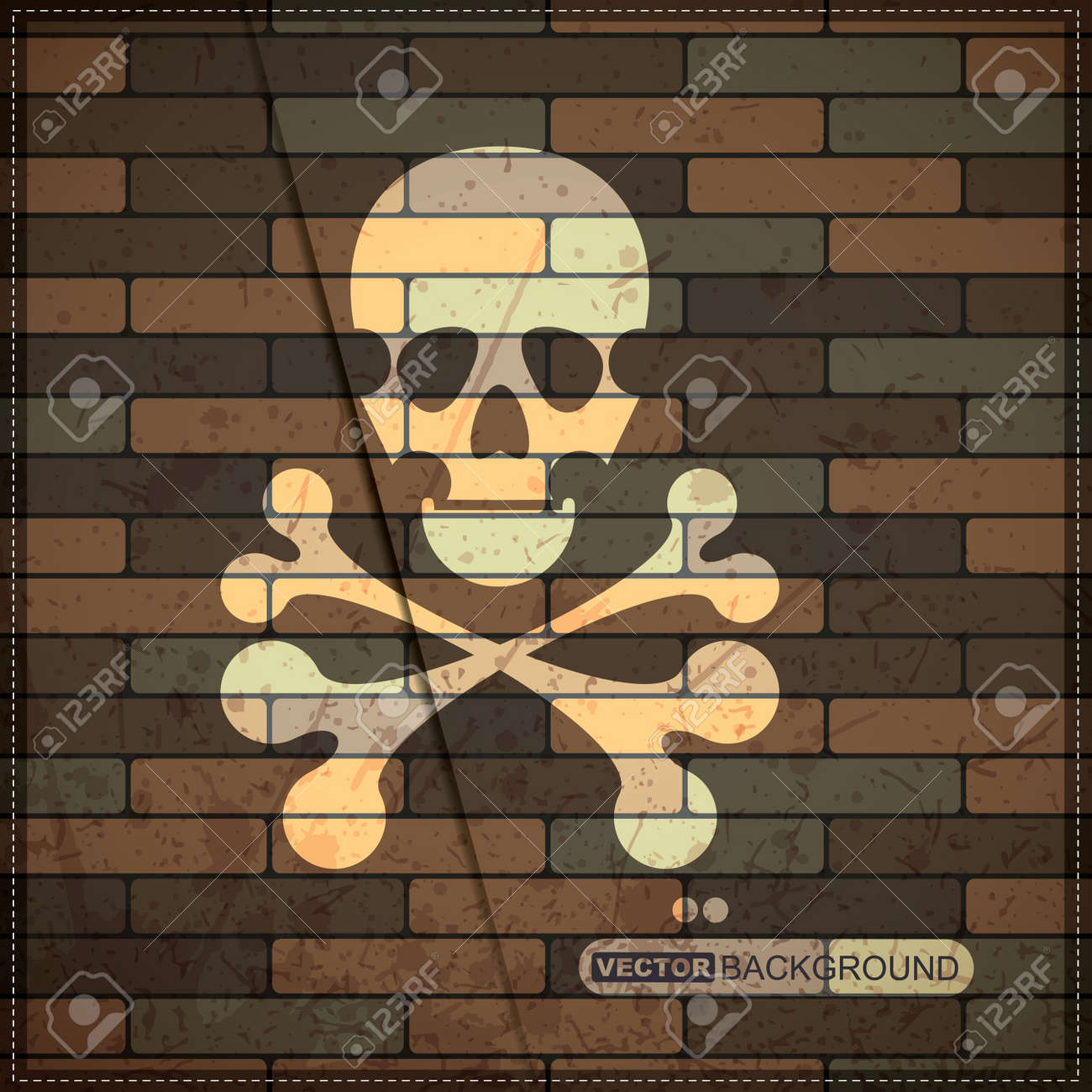 Background with skull on brick wall Stock Vector - 19826537