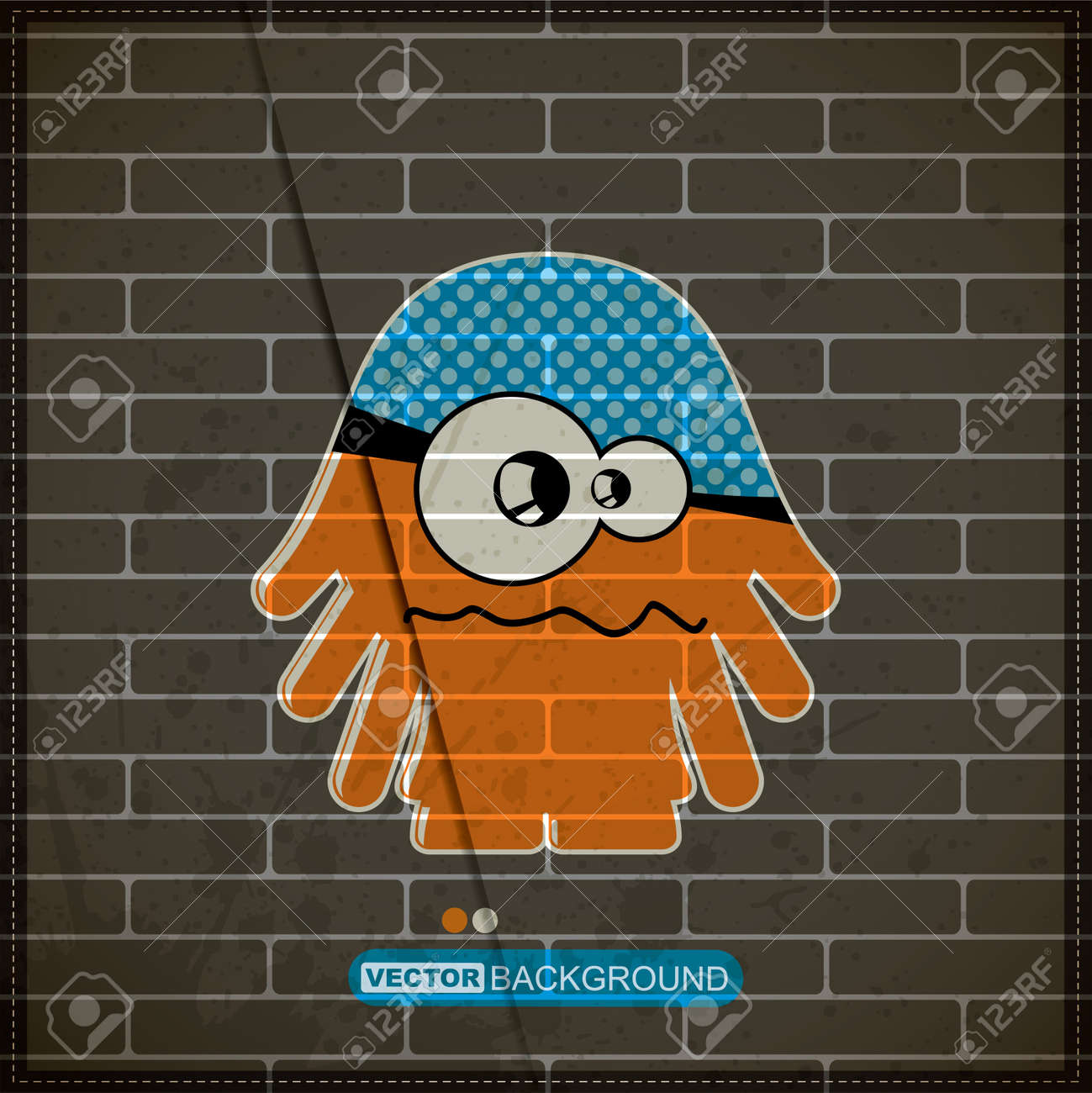 Monster on old brick wall Stock Vector - 20184457
