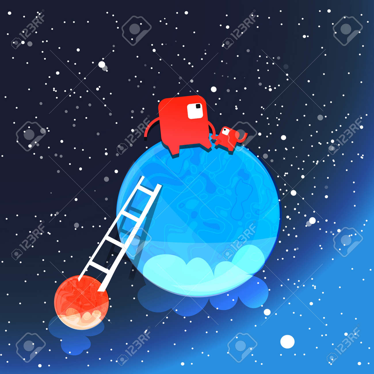 Two monsters think on a blue planet in a deep space Stock Vector - 21677625