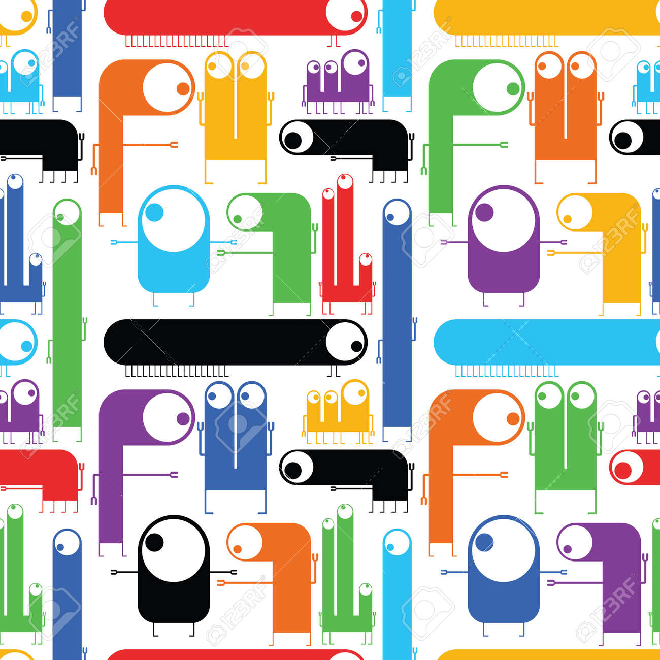Cute monsters - seamless pattern Stock Vector - 21869511