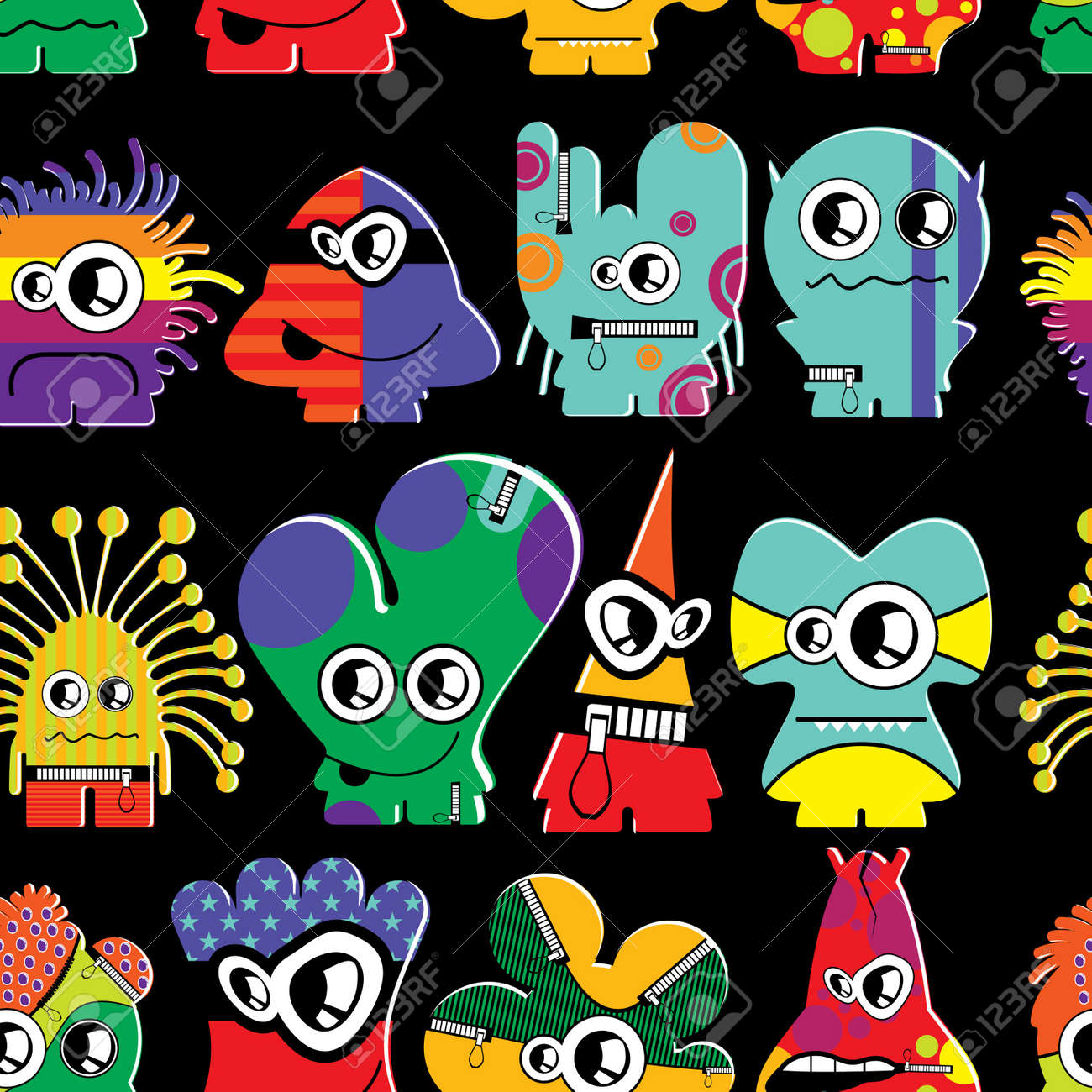 Cute monsters on black - seamless pattern Stock Vector - 22153752