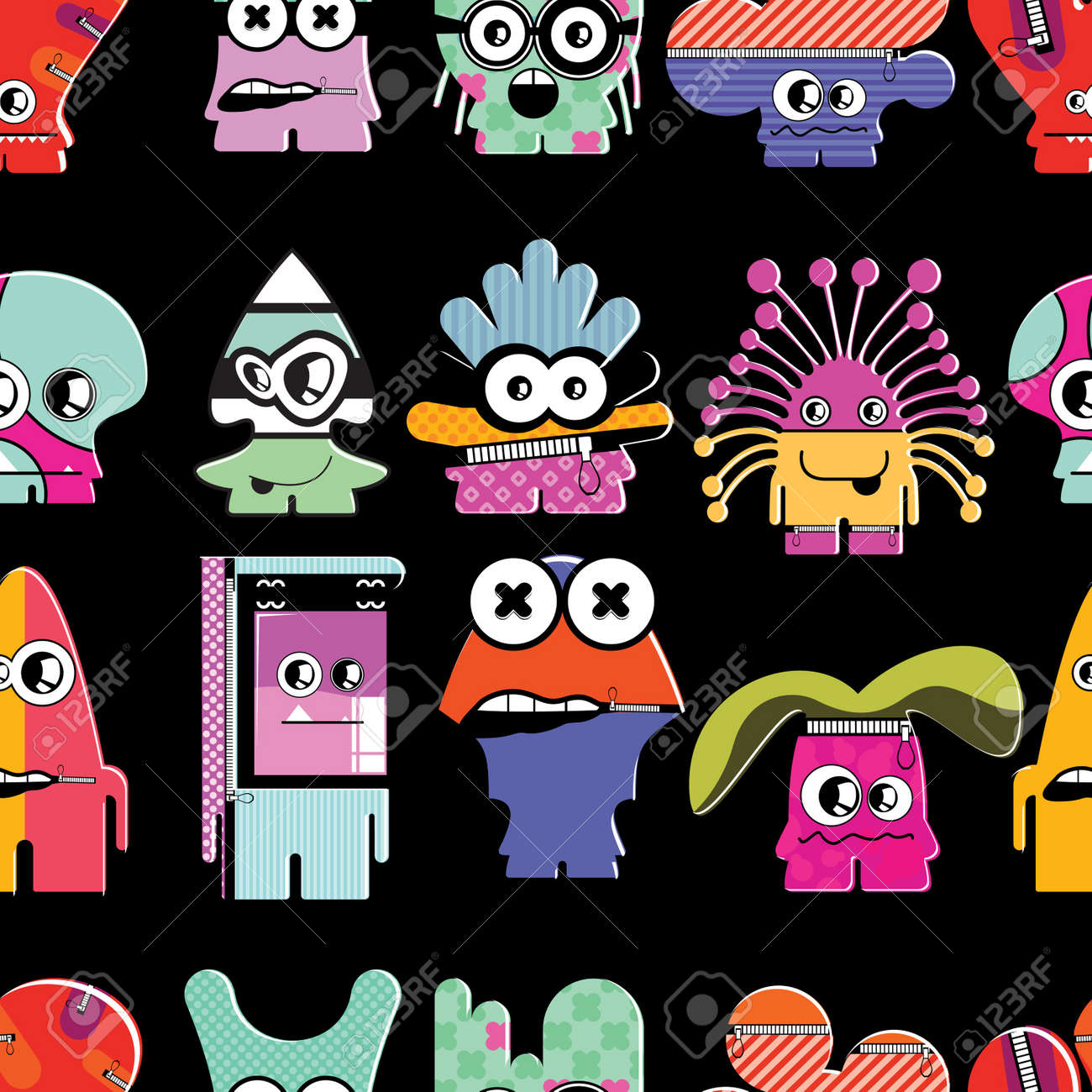 Cute monsters on black - seamless pattern Stock Vector - 22153761