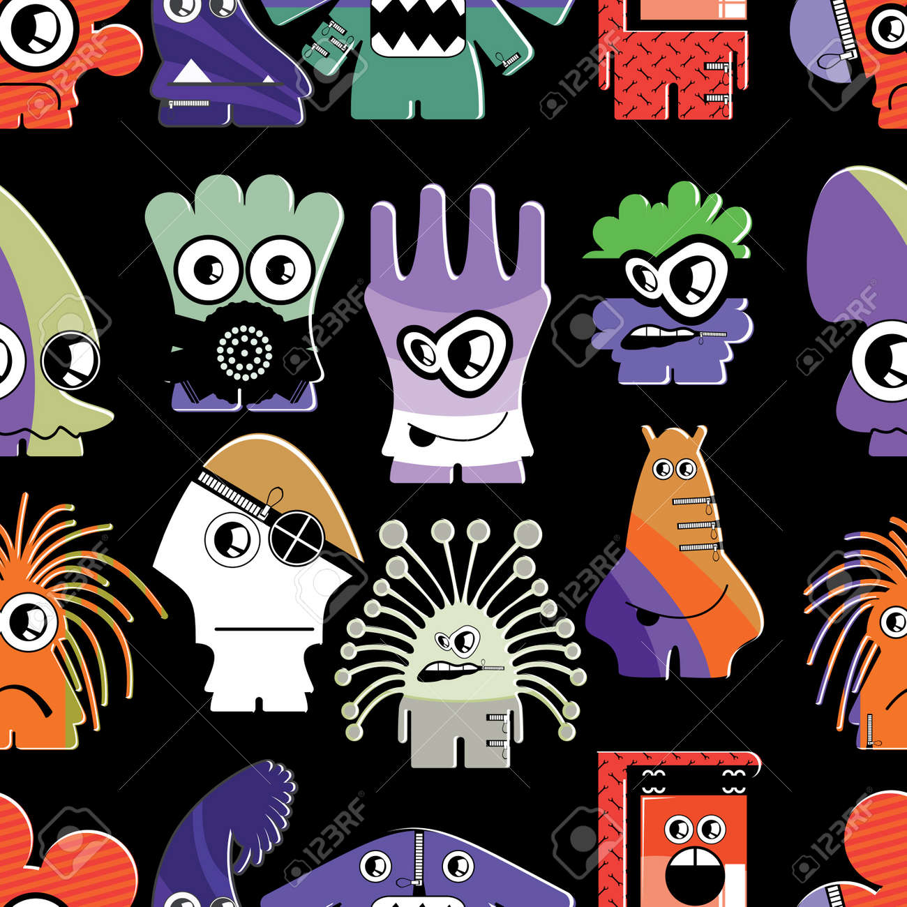 Cute monsters on black - seamless pattern Stock Vector - 22153762