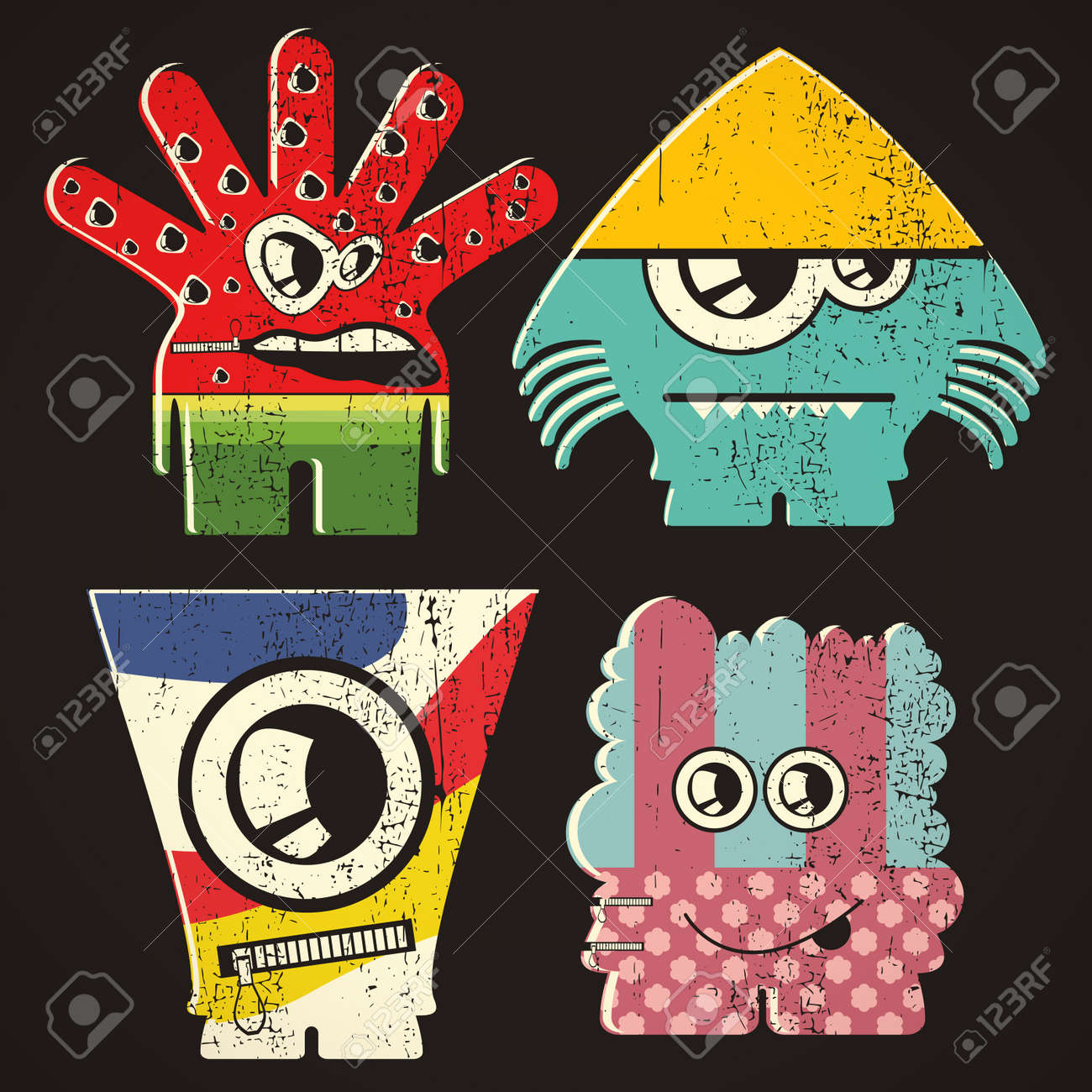 Set of four monsters on retro grunge background Stock Vector - 23498287