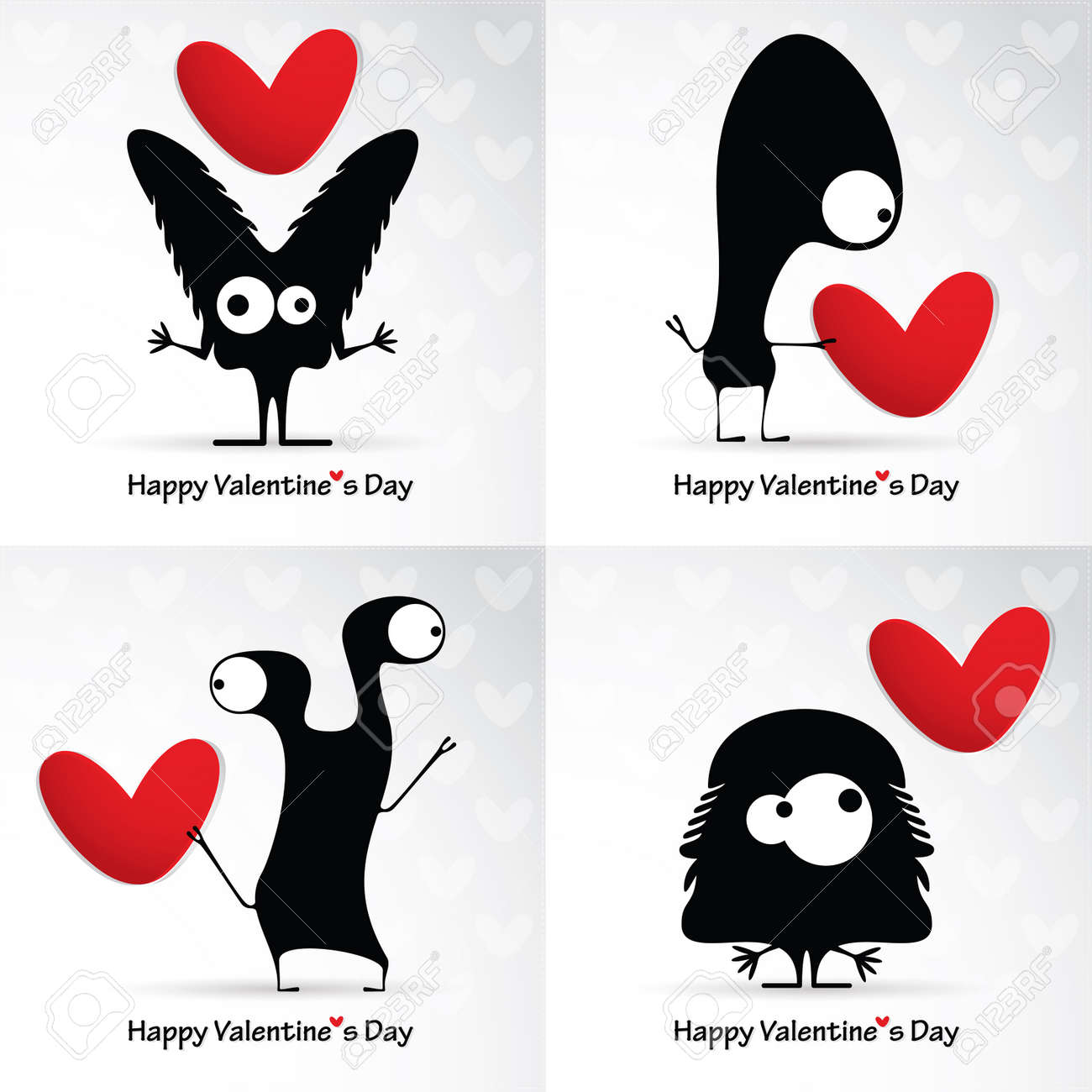 Valentine's day card with monsters and hearts Stock Vector - 25077466