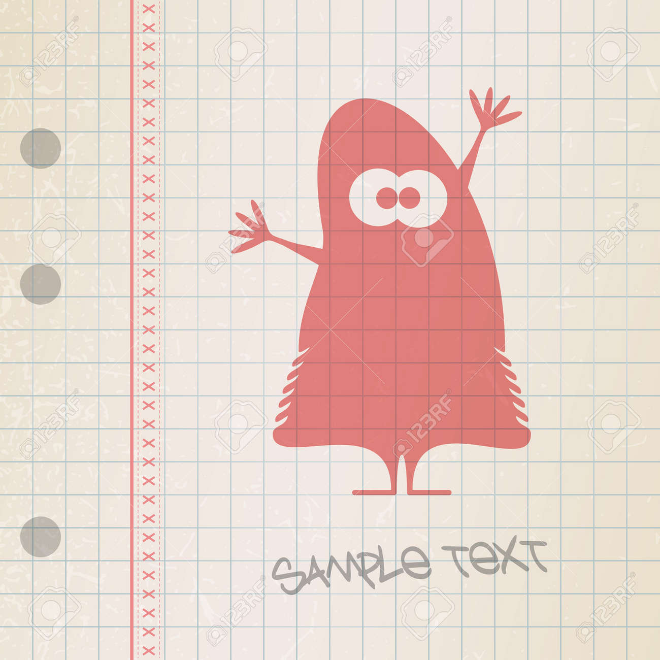 Monster on old paper Stock Vector - 25085192