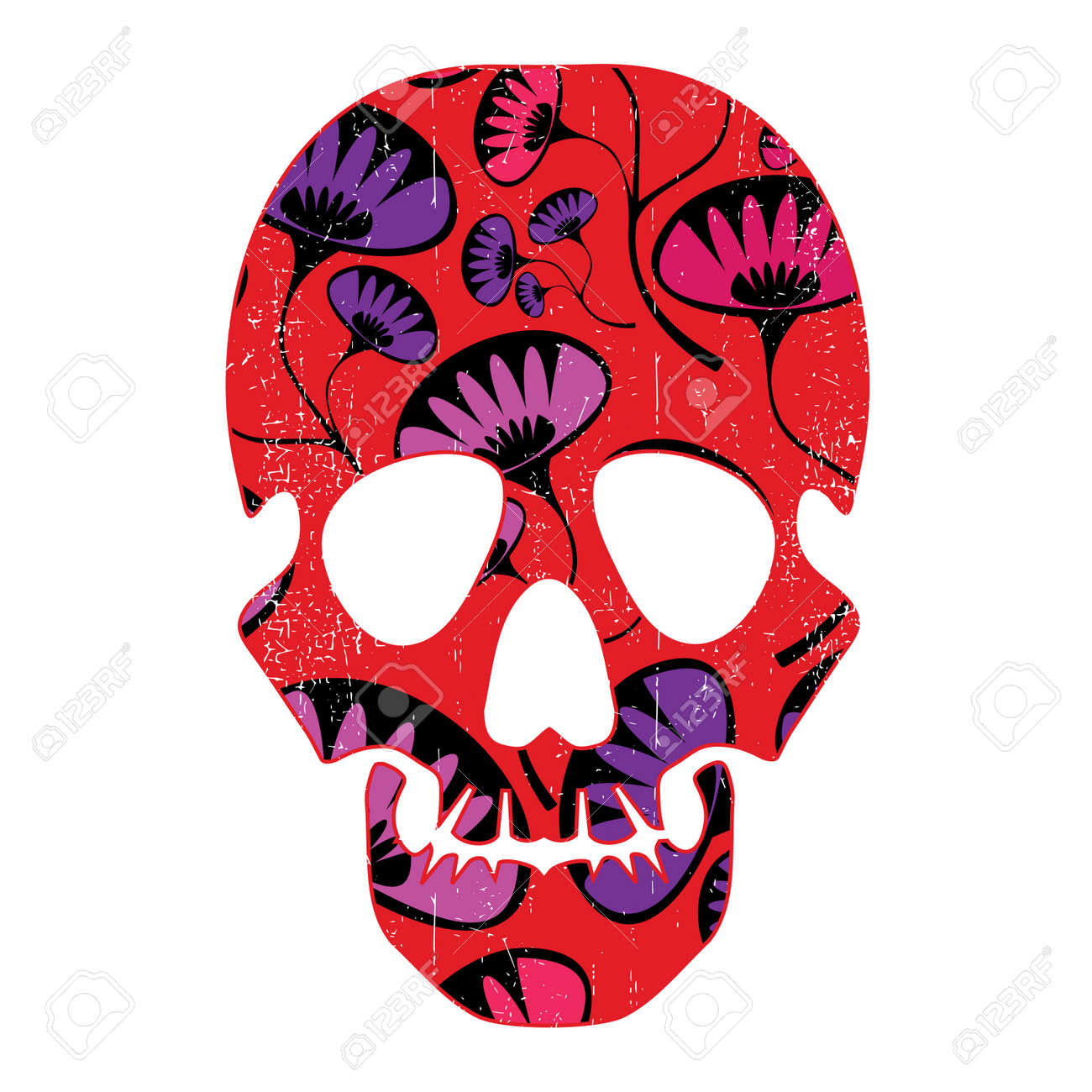 Floral skull isolated on white Stock Vector - 28476233