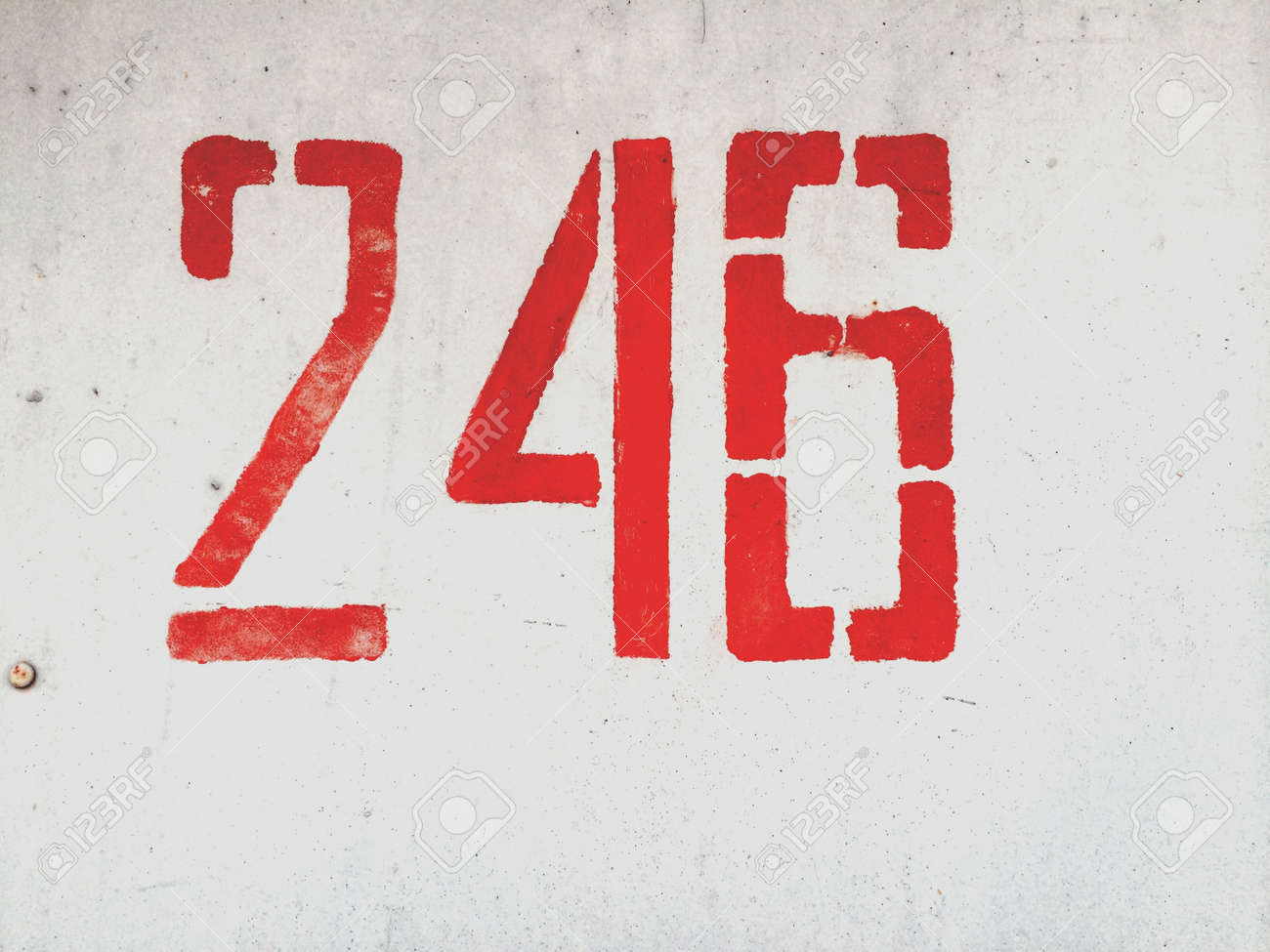 Number 246 on metallic grunge wall Stock Photo - 28612712