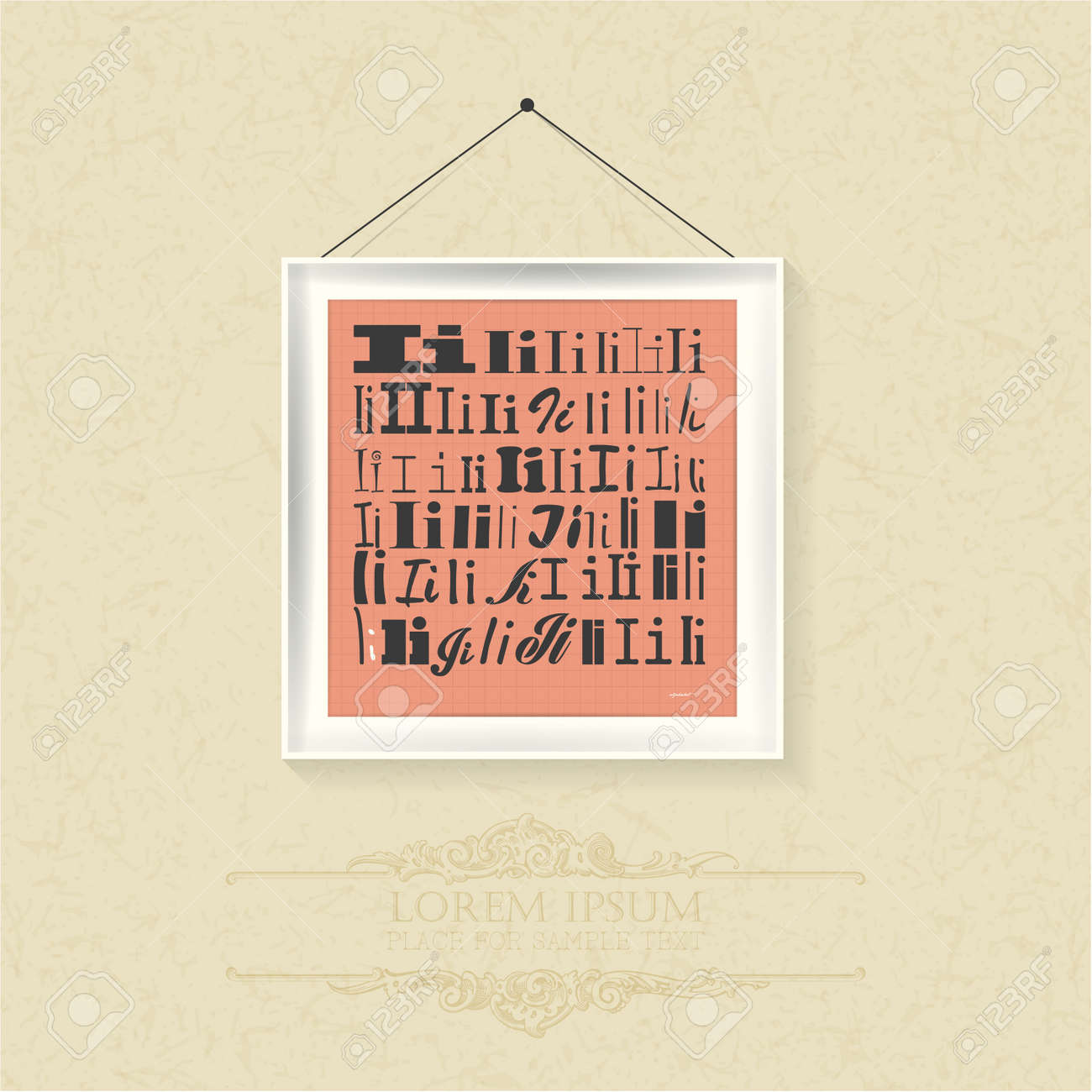 Stylish Alphabet In Frames Letter I Typographic Elements ...