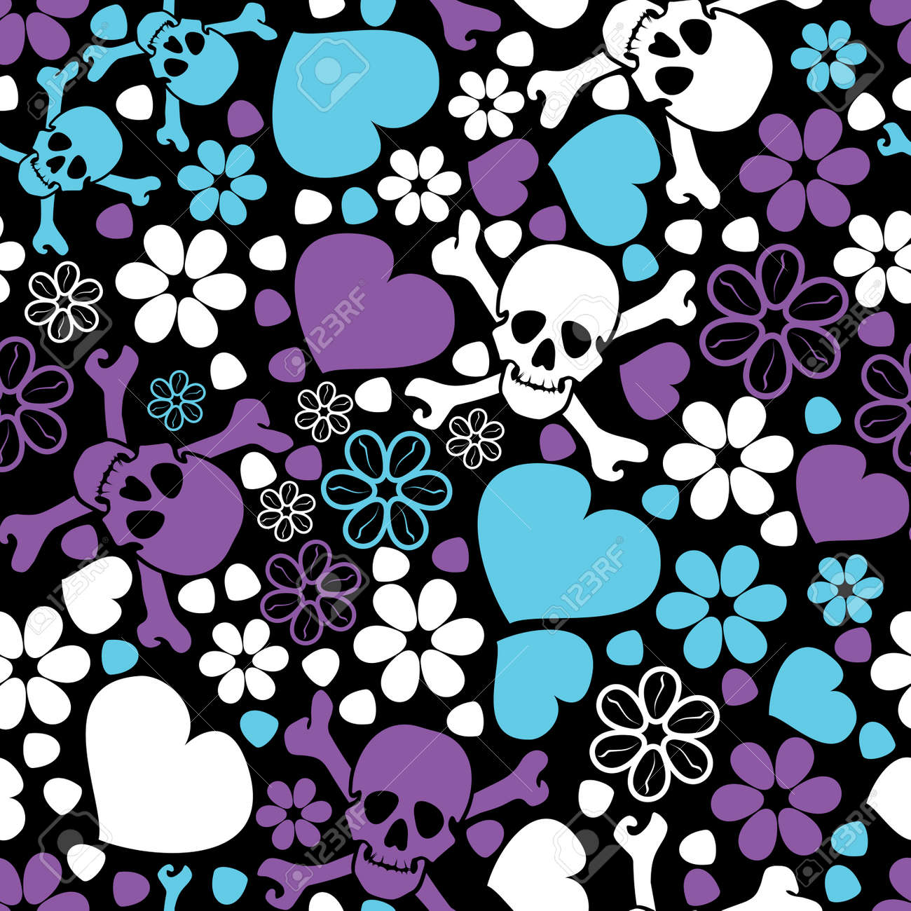 flowers skulls and hearts seamless pattern stock vector 30264387