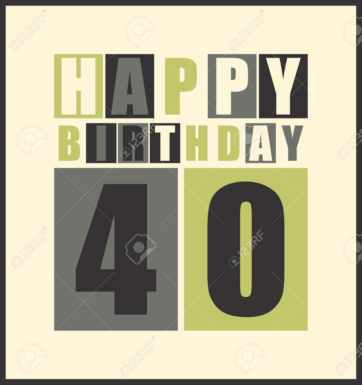 Retro Happy Birthday Card 40 Years Gift Vector Illustration Stock