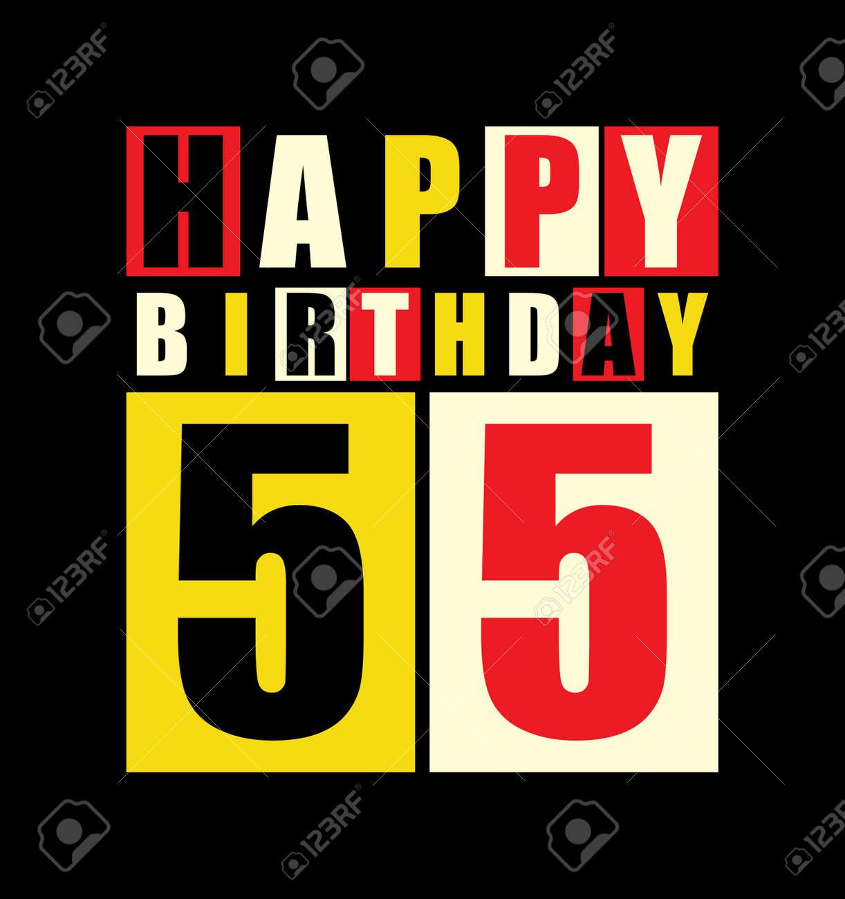 Retro Happy Birthday Card 55 Years Gift Vector Illustration Stock