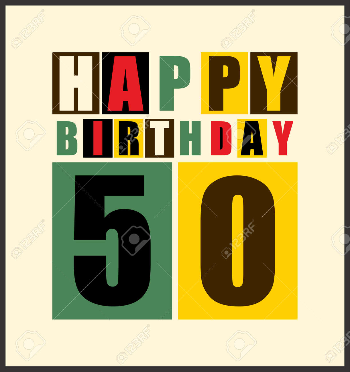 Retro Happy Birthday Card 50 Years Gift Vector Illustration Stock