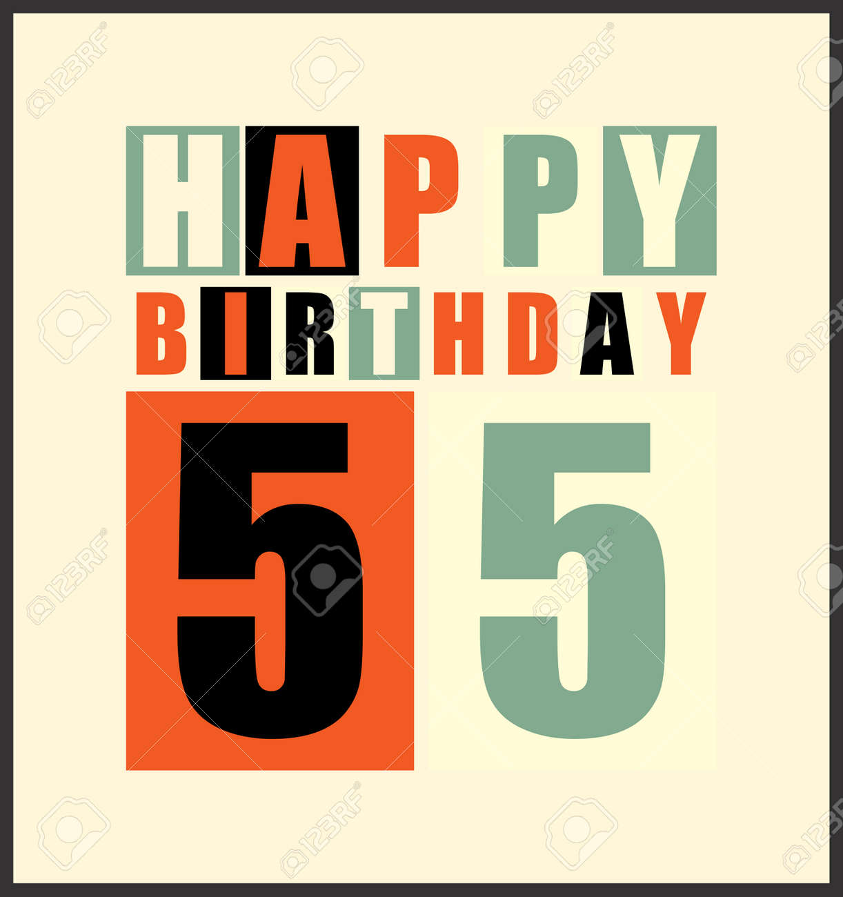 Retro Happy Birthday Card 55 Years Gift Vector Illustration Stock