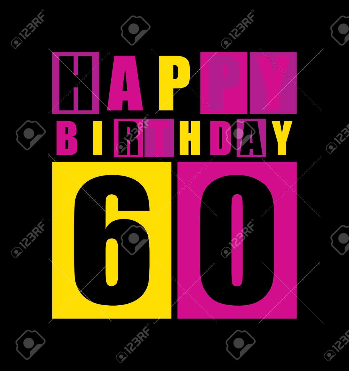 Retro Happy Birthday Card 60 Years Gift Vector Illustration Stock