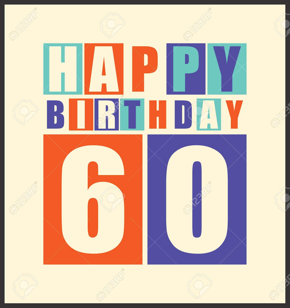 Retro Happy Birthday Card 60 Years Gift Vector Illustration Stock