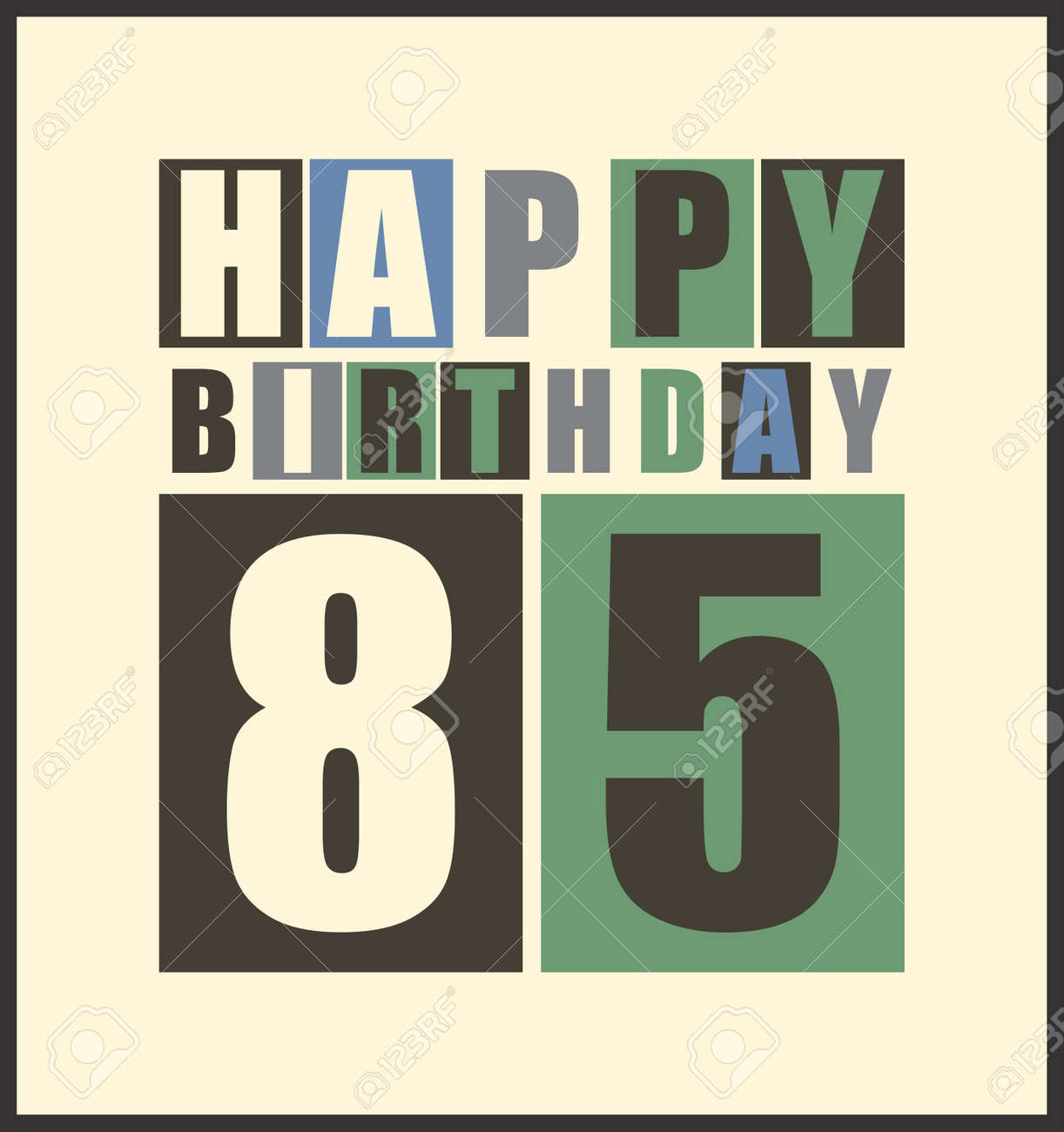 Retro Happy Birthday Card 85 Years Gift Vector Illustration Stock