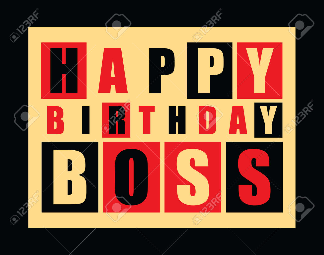 Happy Birthday Card Happy Birthday Boss Vector Illustration – Birthday Card for the Boss