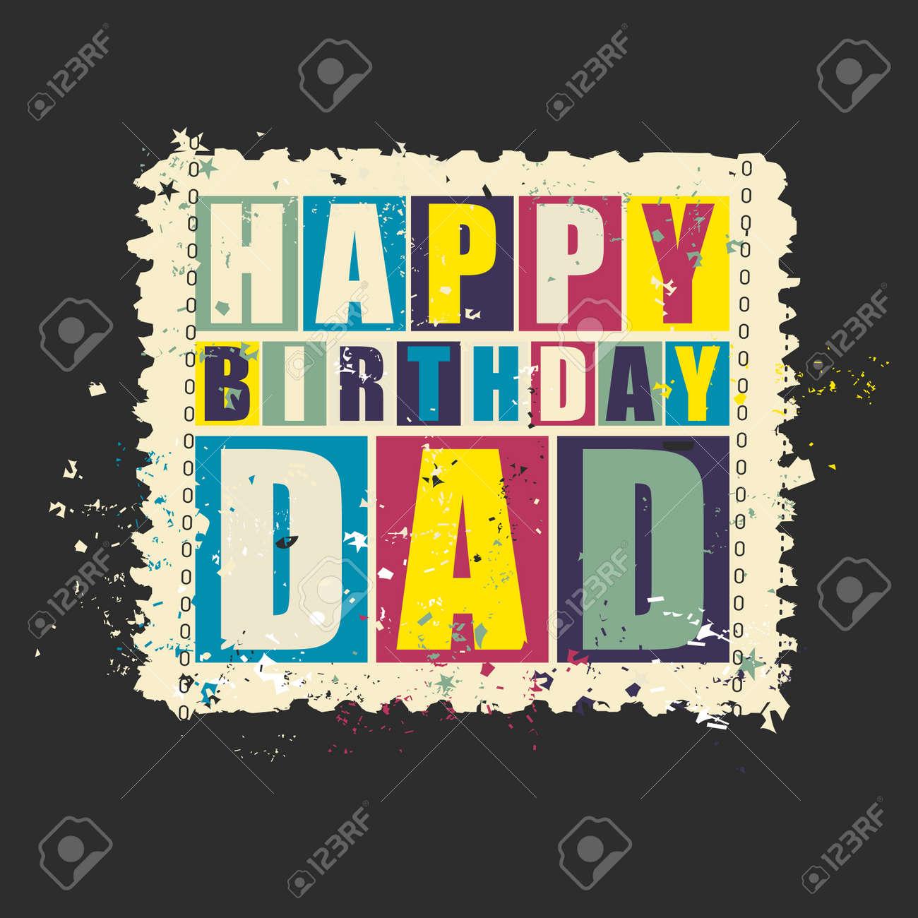 Feliz Cumpleaños Papá El Sello Retro Del Franqueo Grunge Ilustración Del Vector Tarjeta De Regalo