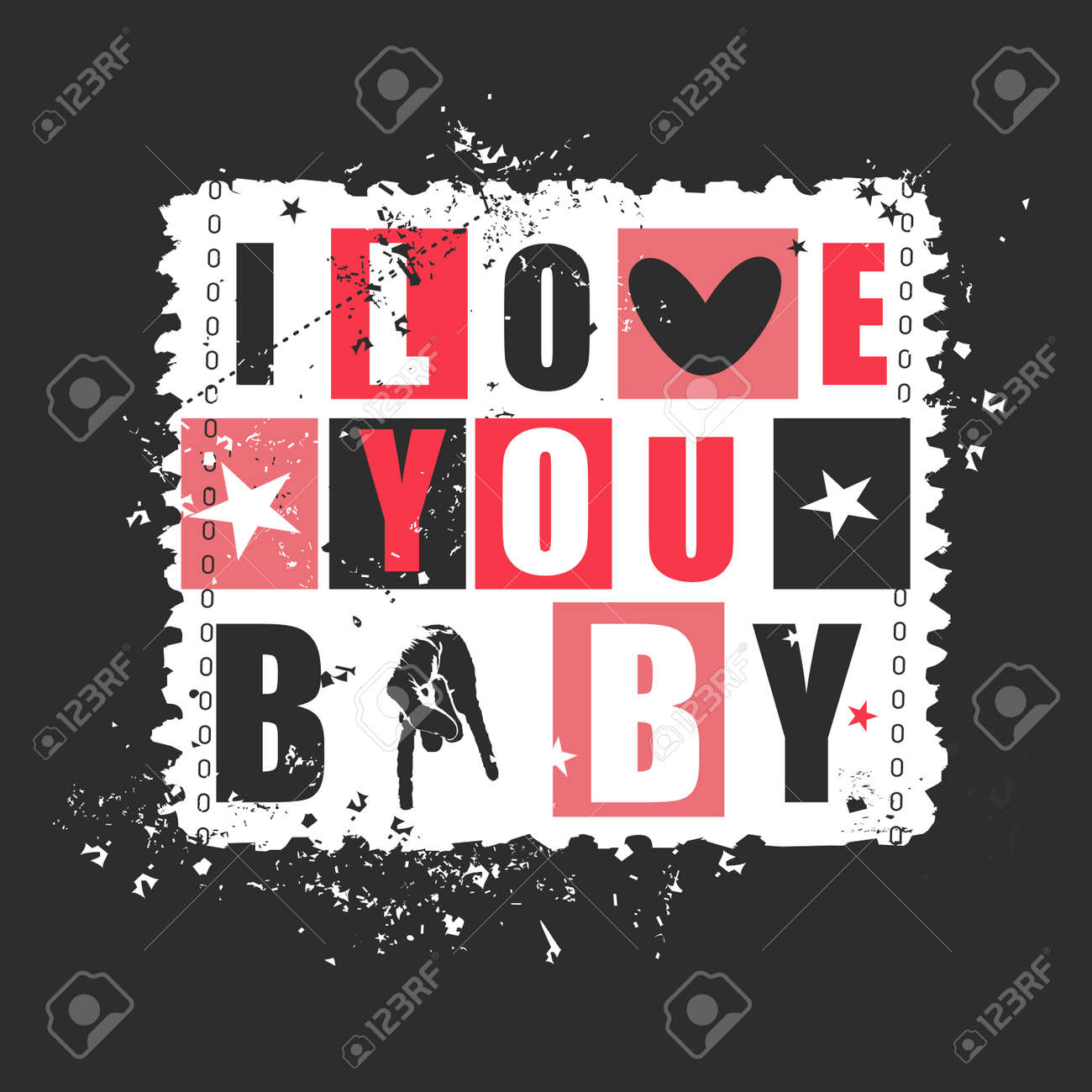 Valentine Day Gift Card With Text I Love You Baby On Retro