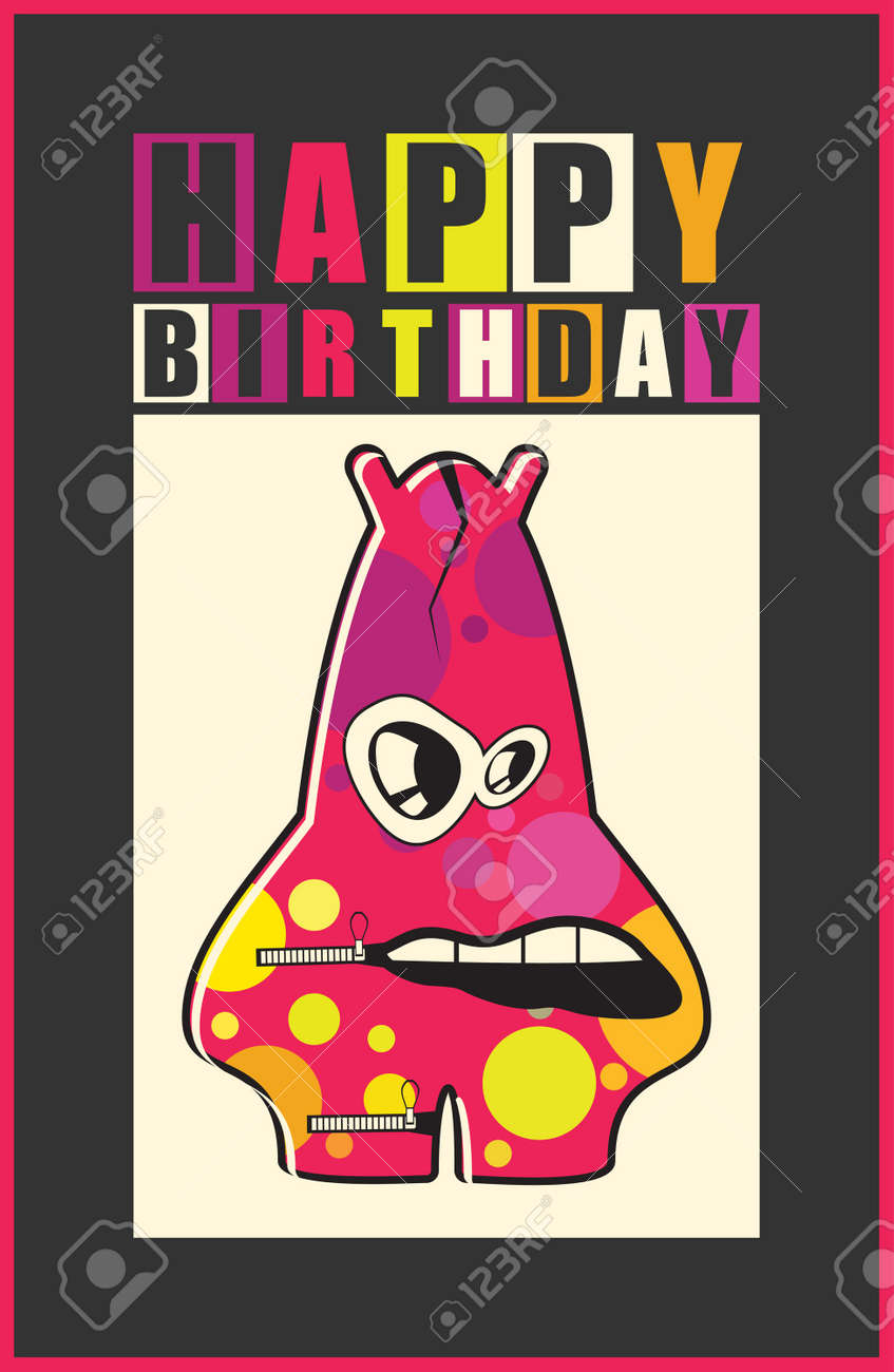 Happy Birthday Invitation Card With Cute Monster