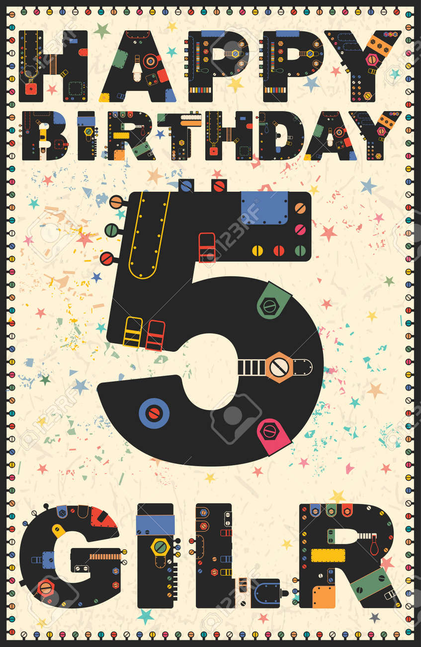 Happy birthday card happy birthday girl 5 years gift card happy birthday card happy birthday girl 5 years gift card vector illustration stock bookmarktalkfo Image collections