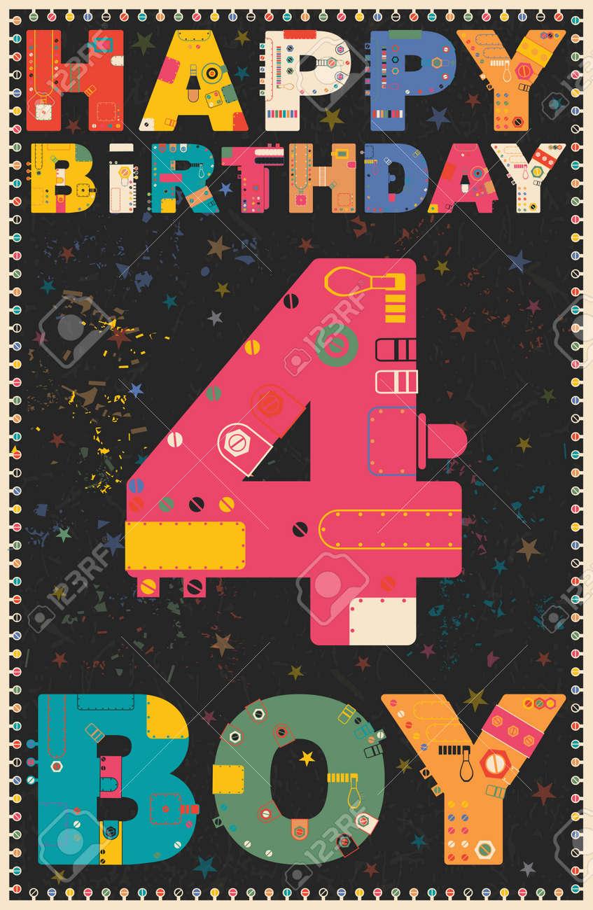 Carte Joyeux Anniversaire Joyeux Anniversaire Garcon De 4 Ans Carte Cadeau Vector Illustration Clip Art Libres De Droits Vecteurs Et Illustration Image 48594673