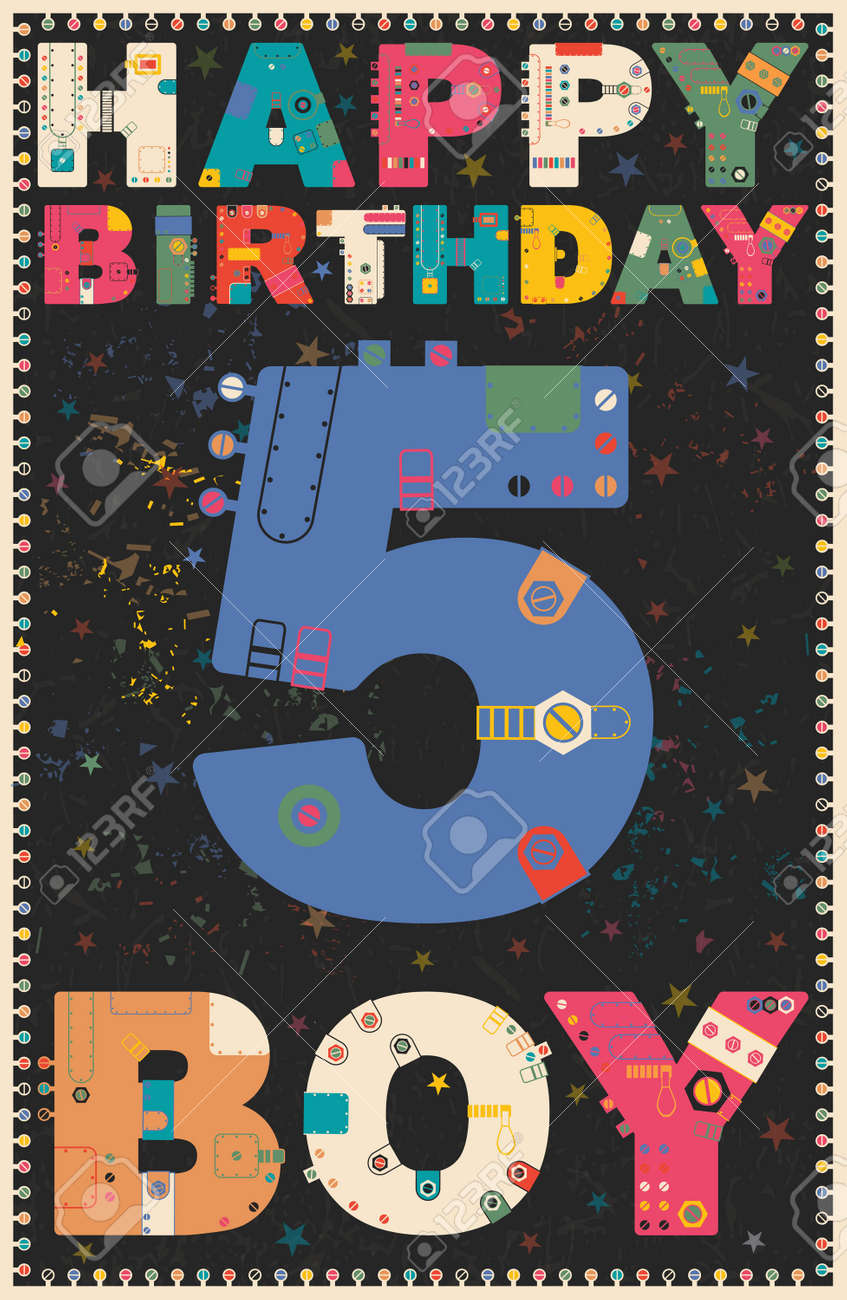 Happy Birthday Card Boy 5 Years Gift Vector Illustration Stock