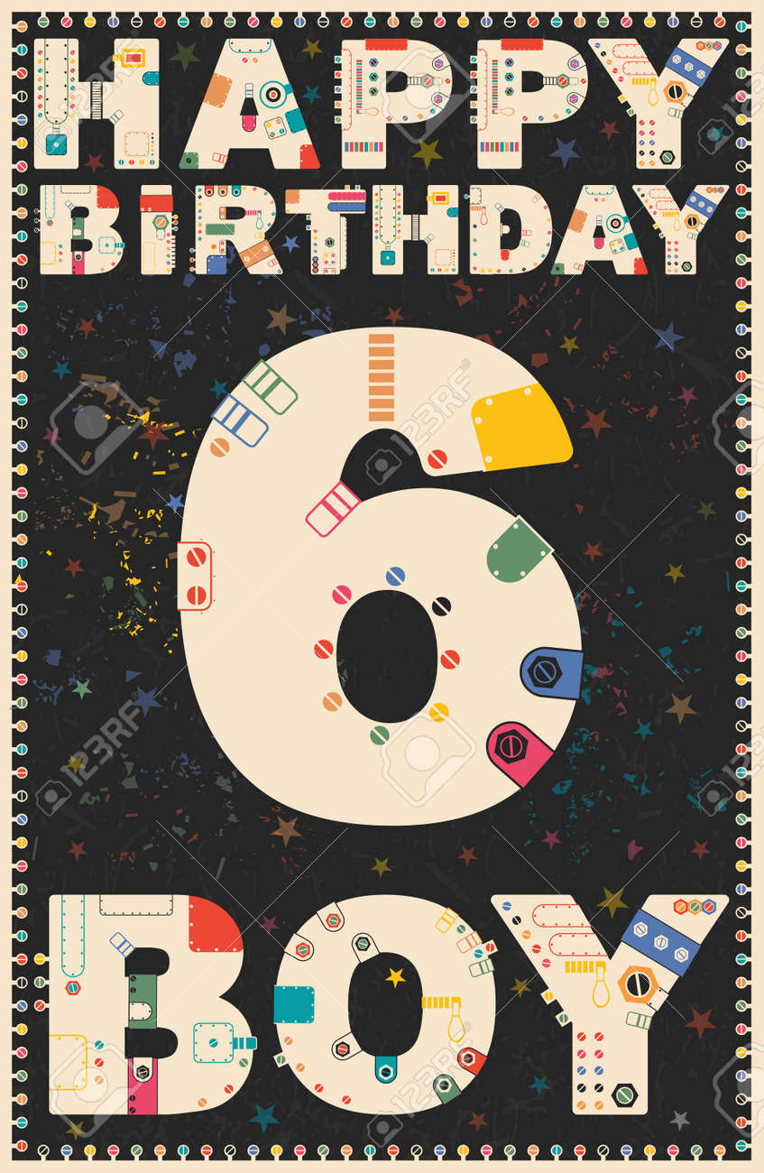 Happy birthday card happy birthday boy 6 years gift card vector happy birthday card happy birthday boy 6 years gift card vector illustration stock bookmarktalkfo Image collections