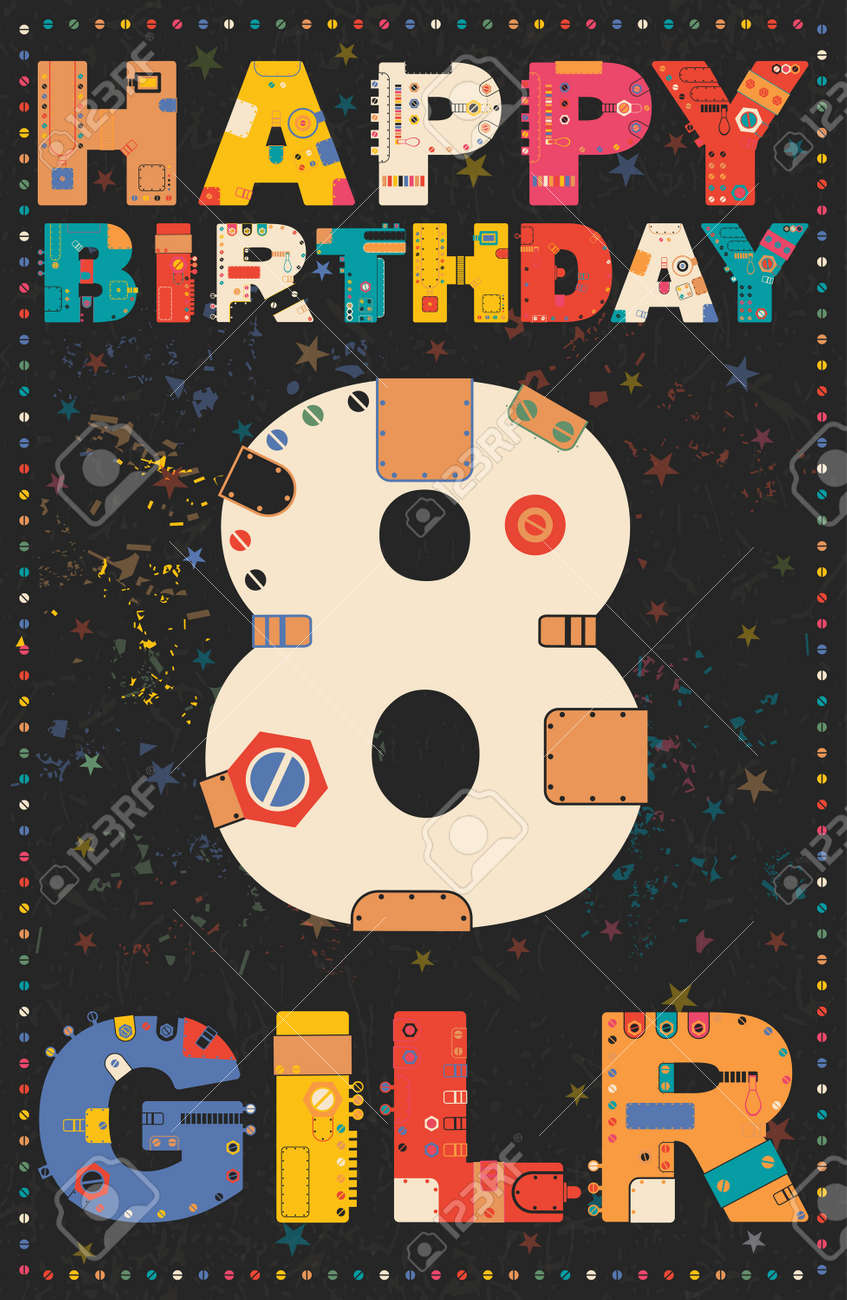 Happy Birthday Card Girl 8 Years Gift Vector Illustration Stock