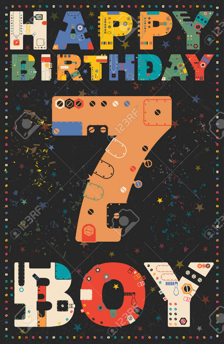 Happy Birthday Card Boy 7 Years Gift Vector Illustration Stock