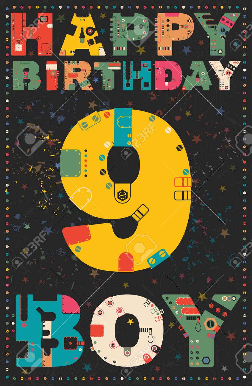 Carte Joyeux Anniversaire Joyeux Anniversaire Garcon De 9 Ans Carte Cadeau Vector Illustration Clip Art Libres De Droits Vecteurs Et Illustration Image 49336838