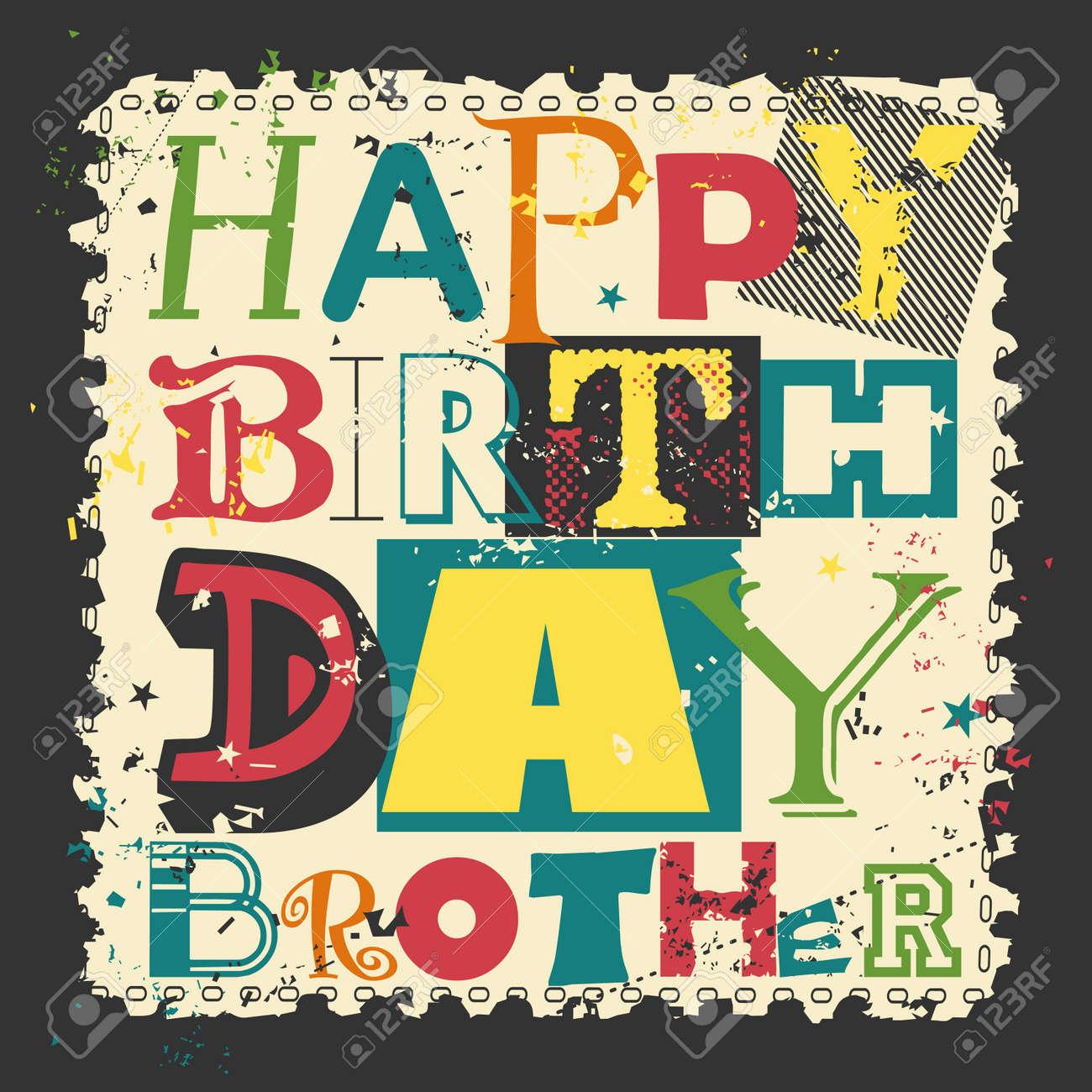 Tarjeta De Cumpleaños Feliz Retro En Fondo Del Grunge Hermano Del Feliz Cumpleaños Ilustración Vectorial