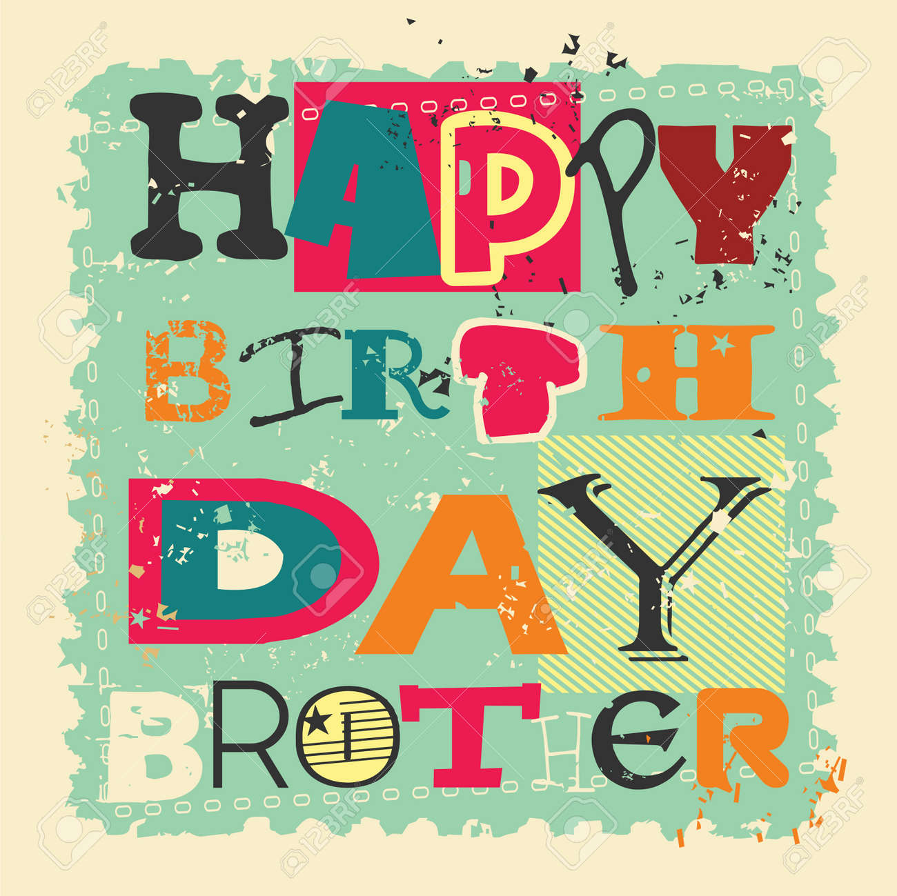 retro happy birthday card on grunge background happy birthday brother vector illustration stock vector