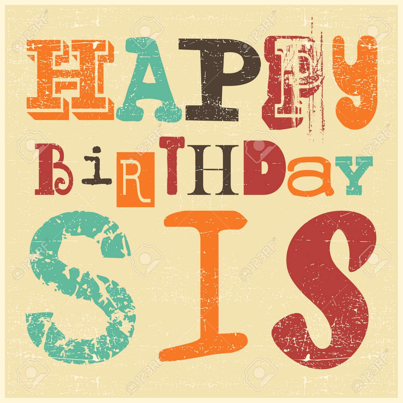 Retro Happy Birthday Card On Grunge Background Happy Birthday – Vintage Happy Birthday Cards