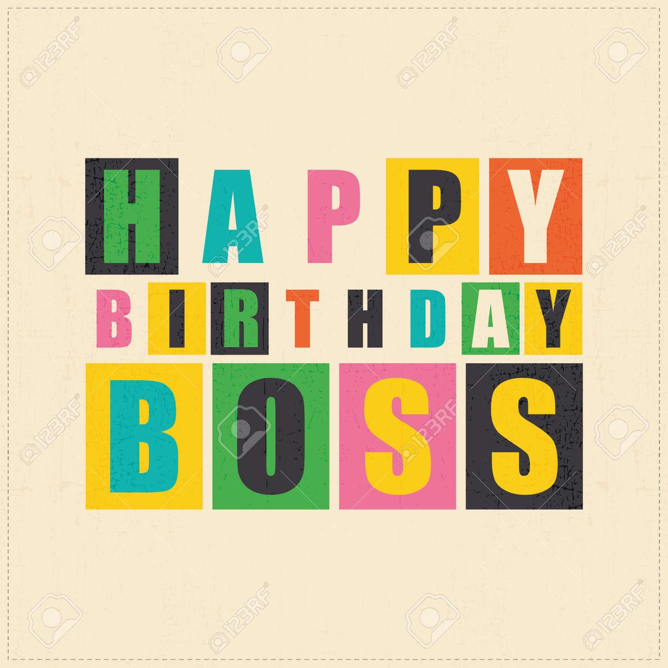 Happy Birthday Card Boss Vector Illustration Stock