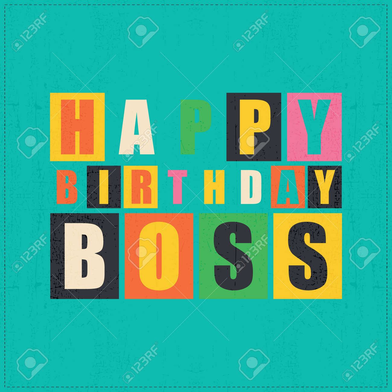 Happy Birthday Card Happy Birthday Boss Vector Illustration